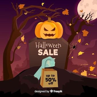 Bannière de vente halloween design plat