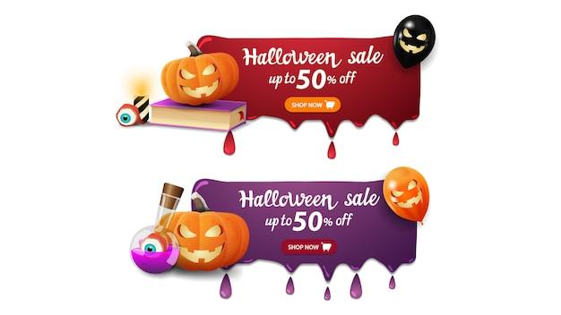 Bannière de vente halloween, deux bannières avec des gouttes, livre de sort, citrouille jack et potion de sorcière