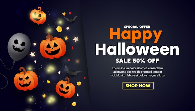 Bannière de vente halloween heureux avec effrayant visage orange citrouille, pièces d'or, ballons et paillettes d'or