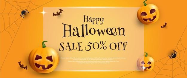 Bannière De Vente Halloween Avec Lanterne Citrouille En Boîte Cadeau Sur Fond Jaune Vecteur Premium
