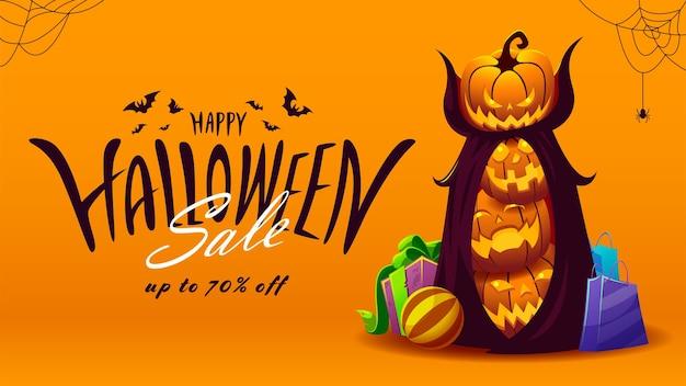 Bannière de vente halloween avec lettrage