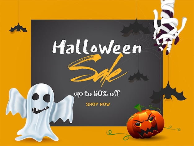 Bannière de vente d'halloween.