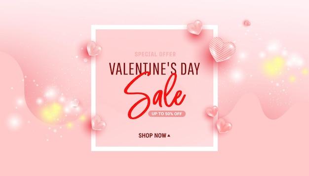 Bannière de vente happy valentine day avec des ballons en forme de coeur d'air et forme de vague. cadre minimal.