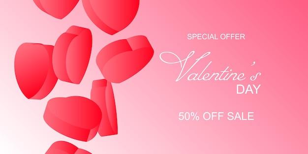 Bannière de vente happy valentines day