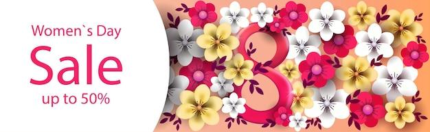 Bannière de vente happy women's day avec des fleurs
