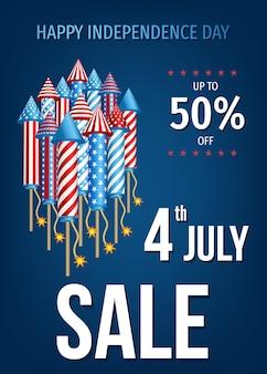 Bannière de vente heureuse du jour de l'indépendance des états-unis du 4 juillet