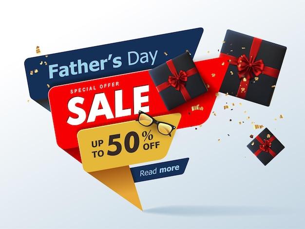 Bannière de vente heureuse fête des pères avec cadeau pour papa