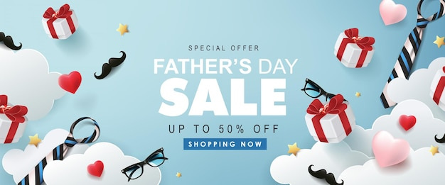 Bannière de vente heureuse fête des pères