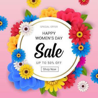 Bannière de vente heureuse journée des femmes avec des fleurs