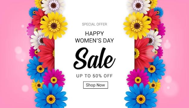 Bannière de vente heureuse journée des femmes