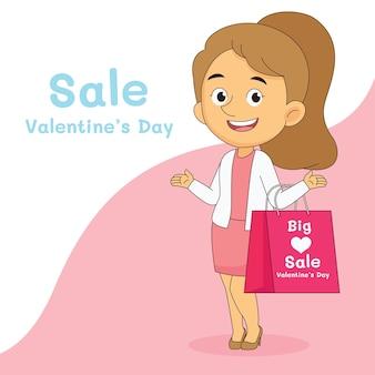 Bannière de vente heureuse saint valentin avec femme commerçante