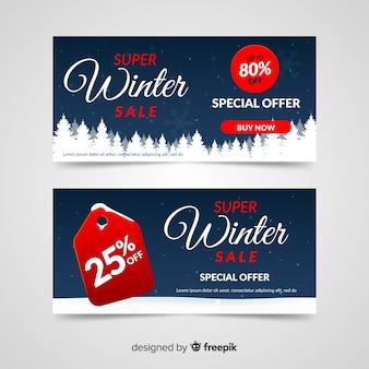 Bannière de vente hiver arbres