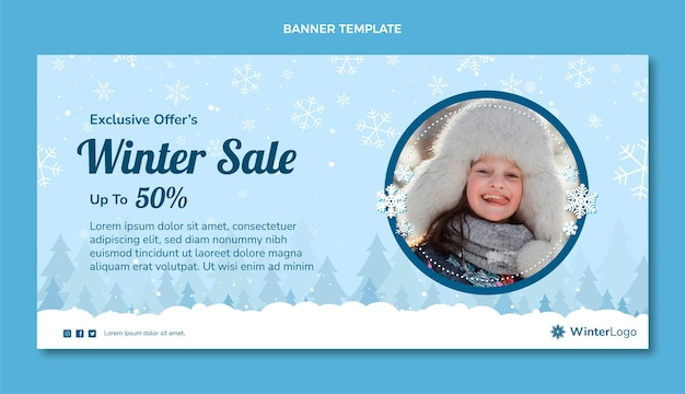 Bannière de vente d'hiver dessinée à la main