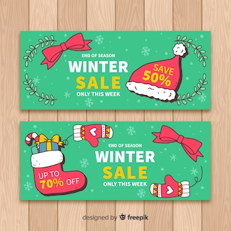 Bannière de vente d'hiver dessinés à la main