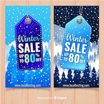 Bannière de vente d'hiver étiquette suspendue