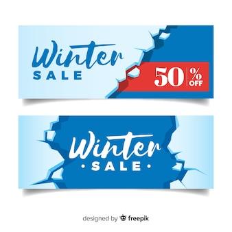 Bannière de vente d'hiver de glace brisée