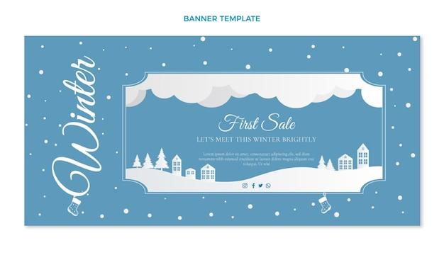 Bannière de vente d'hiver horizontale plate