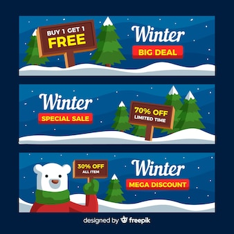 Bannière de vente d'hiver ours polaire