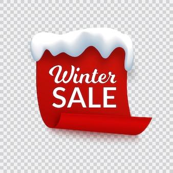 Bannière de vente d'hiver, papier rouge avec chapeau de neige et texte