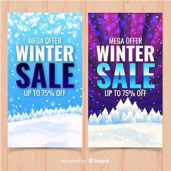Bannière de vente d'hiver de paysage enneigé