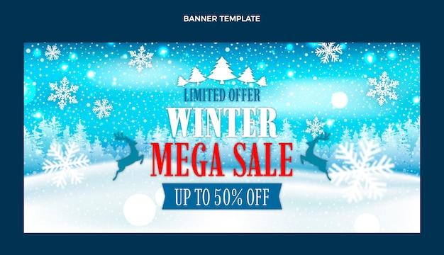 Bannière de vente d'hiver réaliste