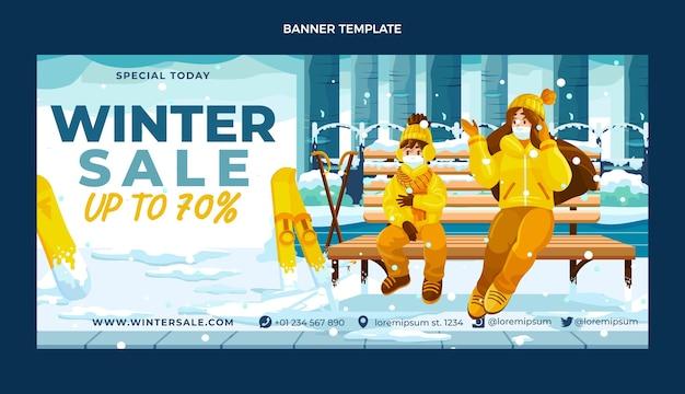 Bannière de vente horizontale hiver plat dessiné à la main