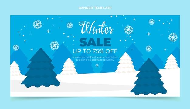 Bannière de vente horizontale d'hiver plat