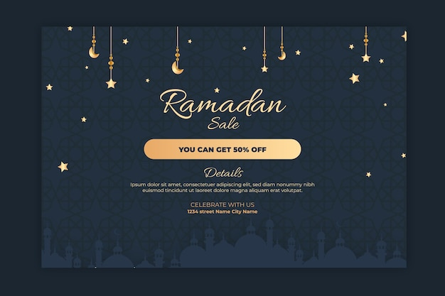 Bannière de vente horizontale ramadan