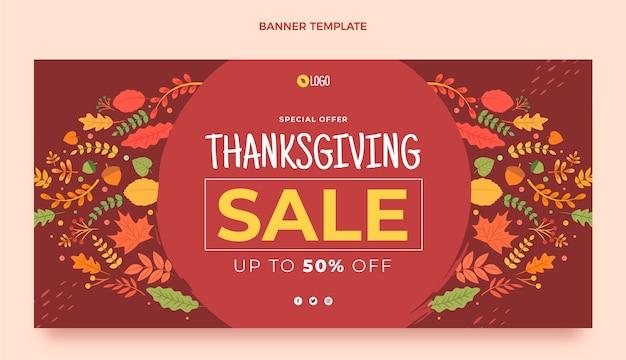 Bannière de vente horizontale de thanksgiving plat
