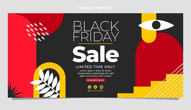 Bannière de vente horizontale vendredi plat noir dessiné à la main