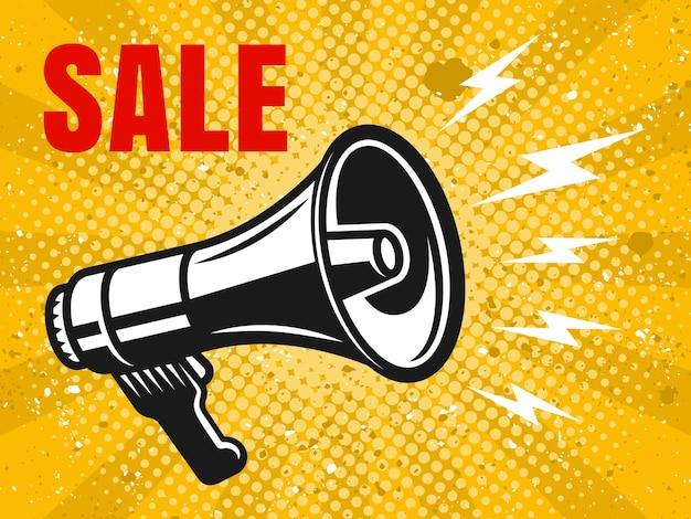 Bannière de vente avec illustration colorée de vecteur vintage mégaphone