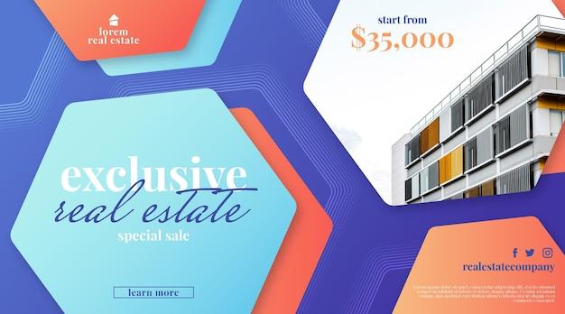 Bannière de vente immobilière dégradée