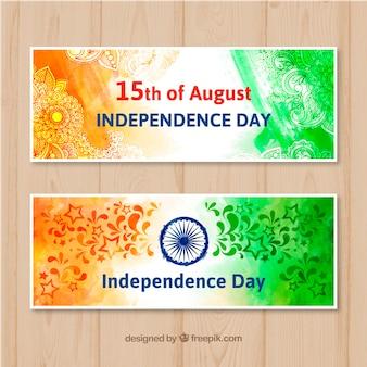 Bannière de vente indienne fête de l'indépendance dans un style aquarelle