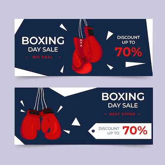Bannière de vente de jour de boxe design plat