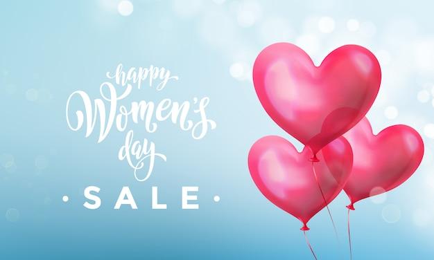 Bannière de vente de la journée de la femme heureuse avec ballon coeur sur bokeh lumière bleu romantique