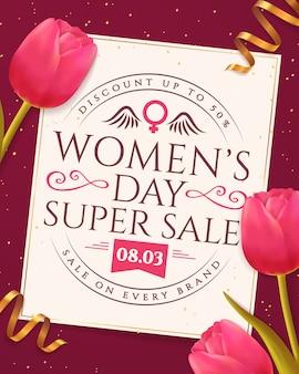 Bannière de vente de la journée de la femme.