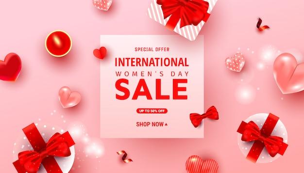 Bannière de vente de la journée internationale de la femme et texte de bienvenue