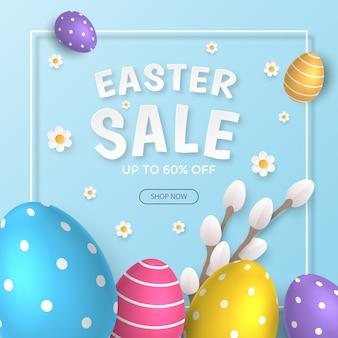 Bannière de vente joyeuses pâques avec de beaux œufs décoratifs.