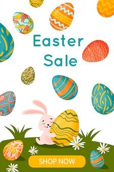 Bannière de vente joyeuses pâques avec lapin de pâques et oeufs