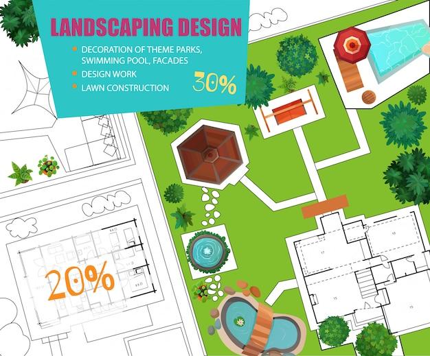 Bannière de vente landscape design top view