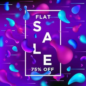 Bannière de vente sur liquify fluid color background