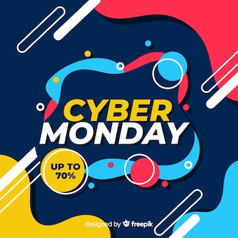Bannière de vente lundi design cyber design plat