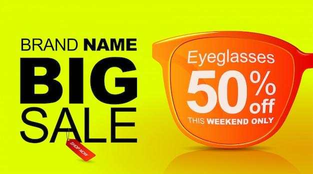 Bannière de vente de lunettes de soleil. grande vente à 50%.