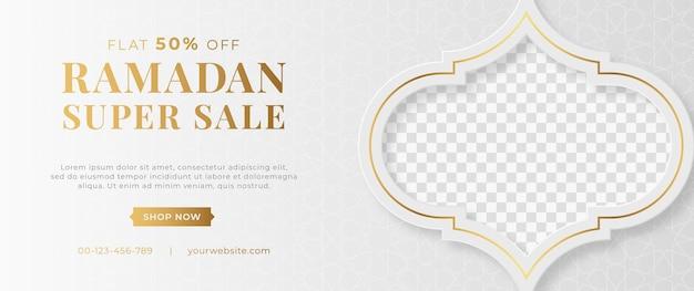 Bannière De Vente De Luxe Arabe Islamique Ramadan Kareem Eid Mubarak Vecteur Premium