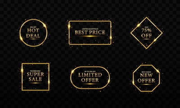 Bannière de vente de luxe du vendredi noir lettrage de texte doré logo de l'affiche de la bannière de vente