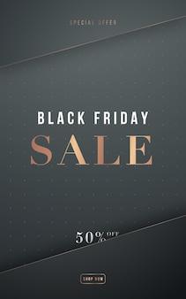 Bannière de vente de luxe du vendredi noir