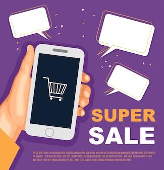 Bannière de vente avec la main et smarthone