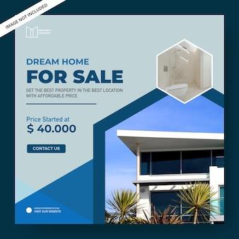 Bannière de vente de maison de rêve
