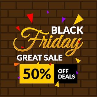 Bannière de vente marron noir or vendredi