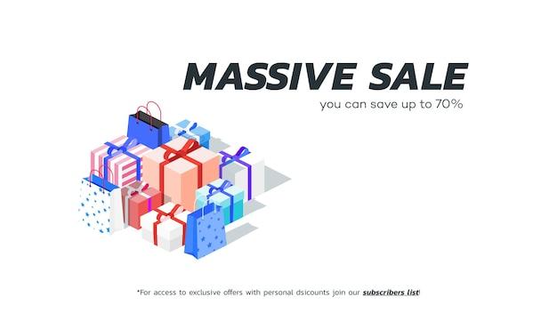 Bannière de vente massive abstraite. coffrets cadeaux isométriques.